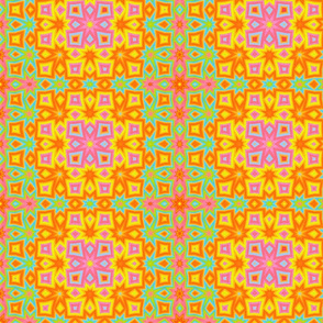 Abstract, Art Deco flowers in yellow, lime and orange