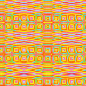 Abstract, Art Deco in bright yellows, lime green, pinks and oranges