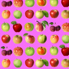 Apples and dots on pink ground