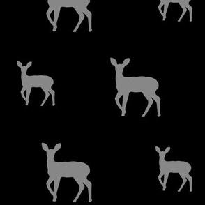 Grey deer on black
