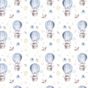Watercolor baby elephant cartoon cute animal pattern background of fancy sky transport complete with  blue balloons, clouds