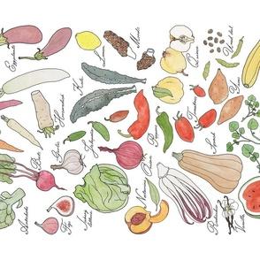 ABC fruit & vegetable Tea Towel