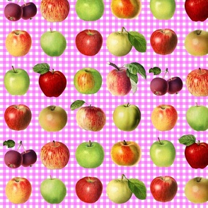 Apples on pink gingham