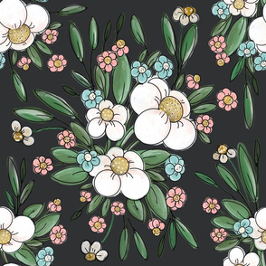 Black floral Chintz