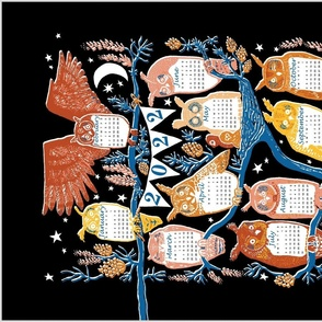EN Long-eared Owls in Scots Pine 2021 Tea-Towel Calendar- English