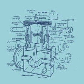 Single-cylinder T-head engine in blue