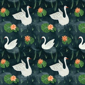 Swans and Lily Pads