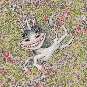 super happy fantasy unicorn!  large scale, white gray pink coral peach green black red beige tan
