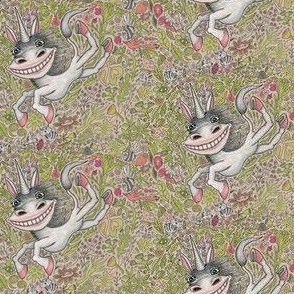 super happy unicorn fantasy!  small scale, white gray pink coral peach green black red beige tan