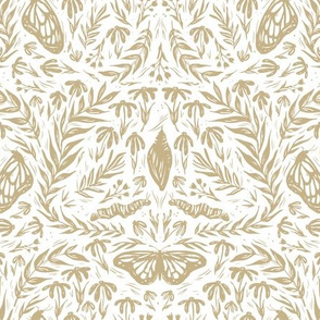 Butterfly Fabric & Wallpaper in Gold
