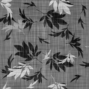 peony leaves on linen texture - black and white