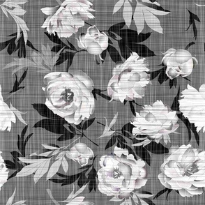 peonies white on linen texture