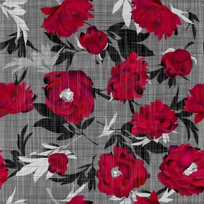 peonies red on linen texture
