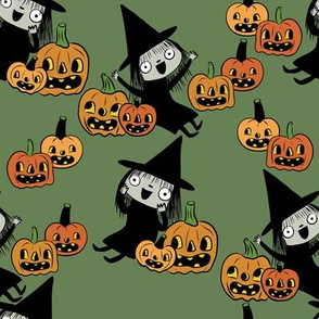 Pumpkin Patch Witches On Green
