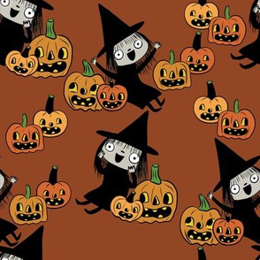 Pumpkin Patch Witches On Brown
