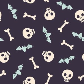 Halloween skulls, bones and scary bats