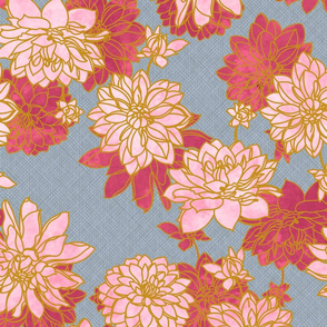 Pink Dahlias Blue Linen