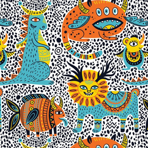fantastic animals seamless pattern