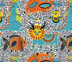 fantastic animals seamless pattern
