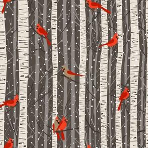 Snowy Evening Cardinals in Birch Trees