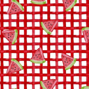 watermelon plaid with slices