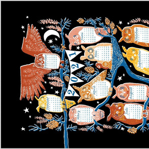DE Long-Eared Owls on Scots Pine 2021 Tea Towel Calendar. German Language Deutsch