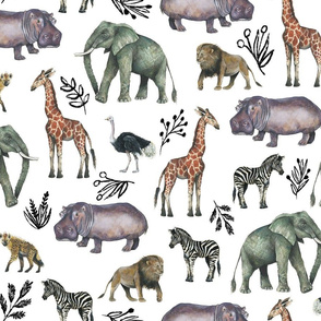 Medium Safari Party with Black Plant Sketches //Painted Safari Animals