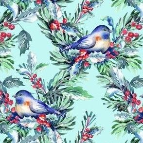 birds in winter garden