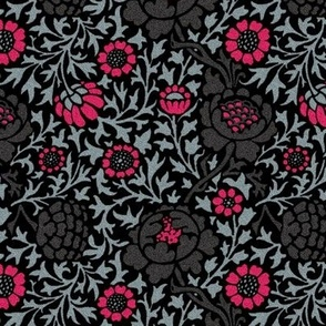 Grafton ~ William Morris ~ Black and Hot Pink ~ Faux Flocked Finish