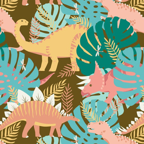 Jungle Dinosaurs in Pink + Teal