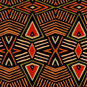 Shaman Tribal Shield - Large Scale - Orange Olive Black