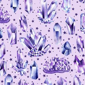 Amethyst Crystals on Lilac