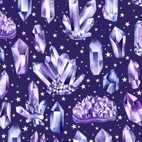 Amethyst Crystals on Deep Purple