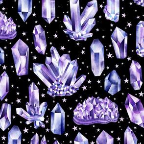 Amethyst Crystals on Black