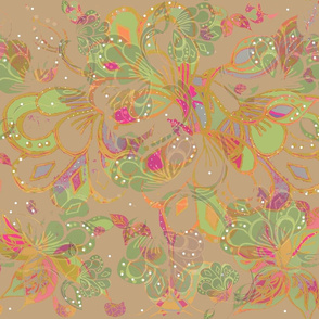 Warm Brown Bohemian Autumn Eastern Nouveau Maximalist Batik Floral