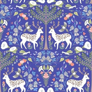 Fallow Deer and Morning Glory in Royal Blue