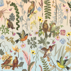 birds and flowers ombre