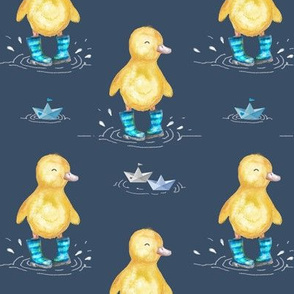 Yellow Duck in Wellies Splashing in the Rain Puddles Adventure Blue MED