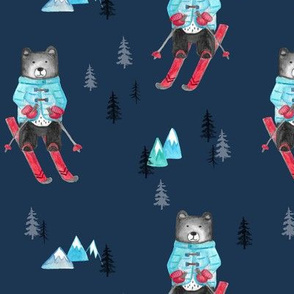 Bear's Skiing Outdoor Adventure in the Mountains Navy MED