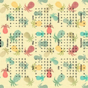 2021 Calendar Yellow with Pineapples