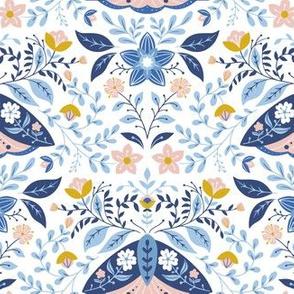 Blue moth on white