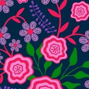 Mary Floral Botanical in Fuchsia Pink Green Purple Blue - LARGE SCALE - UnBlink Studio by Jackie Tahara