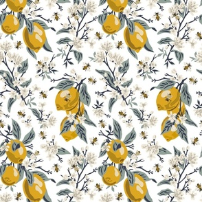 Bees & Lemons - Medium - White