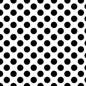 large polka dot black and white