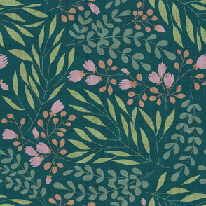 Amberly Floral in Deep Green