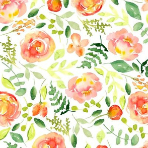Sunset Florals Painted Watercolor