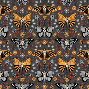Butterflies and Skulls Orange on Dark