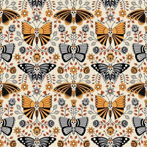 Butterflies and Skulls Orange on Light
