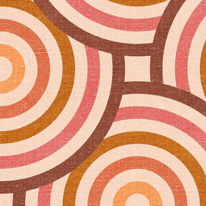 Retro Circles in Blush - extra large scale
