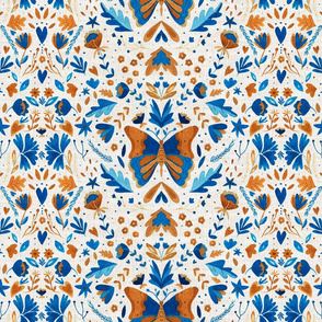 Watercolor blue and ochre butterfly pattern with folk flowers and linen texture